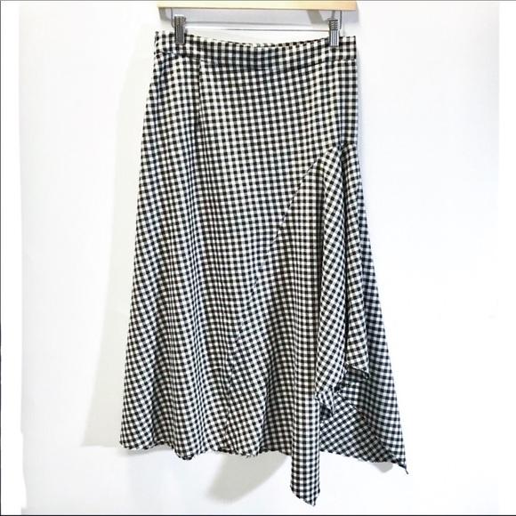 e7d46549 Zara Skirts | Nwt Woman Gingham Midi Skirt Highlow Flouncy | Poshmark